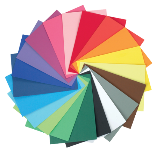 A Color wheel with different sheets of paper.