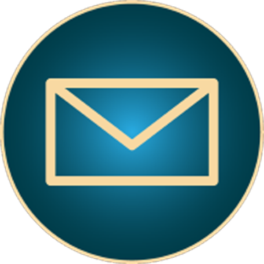 Golden envelope outline in circle on blue background