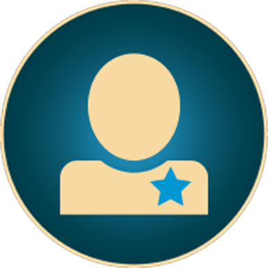 ABV Membership graphic, navajo white silhouette of person with a star on their shirt  on blue background with Navajo White border.
