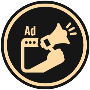 ABV Ad Management graphic with gold silhouette web browser and megaphone on black background.