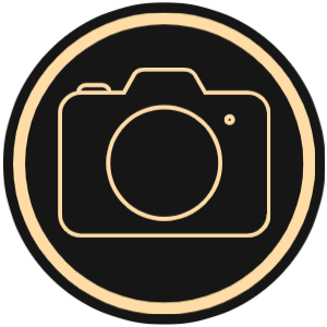 ABV Photography graphic with gold camera silhouette on black background.