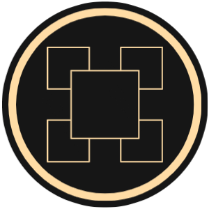 ABV Graphic Design graphic with five gold bordered squares on black background