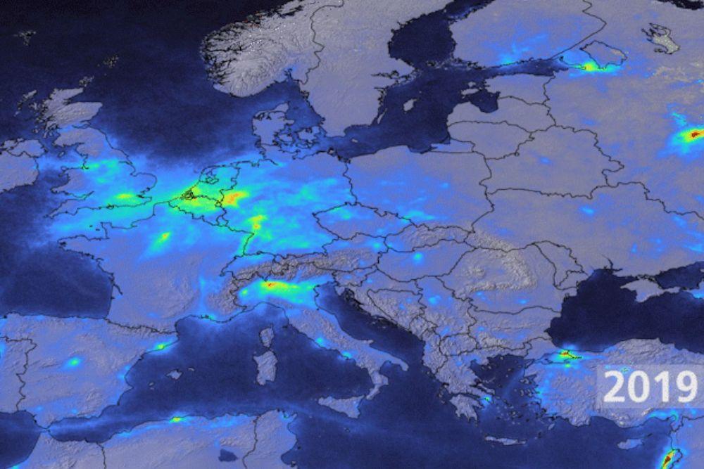 Corona-Effekt Lockdown Italien Lombardei Stickstoffdioxid