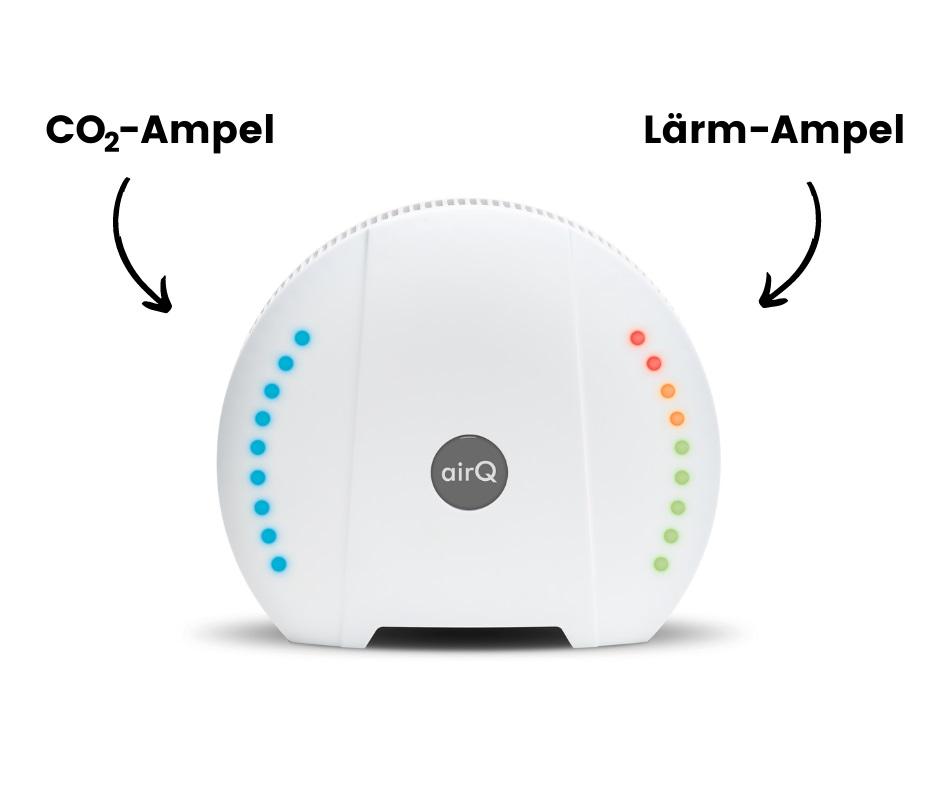 air-Q Luftanalysator als CO₂-Ampel und Lärm-Ampel