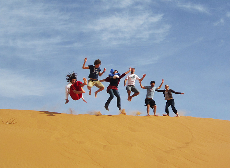 friends group in the moroccan desert, Morocco