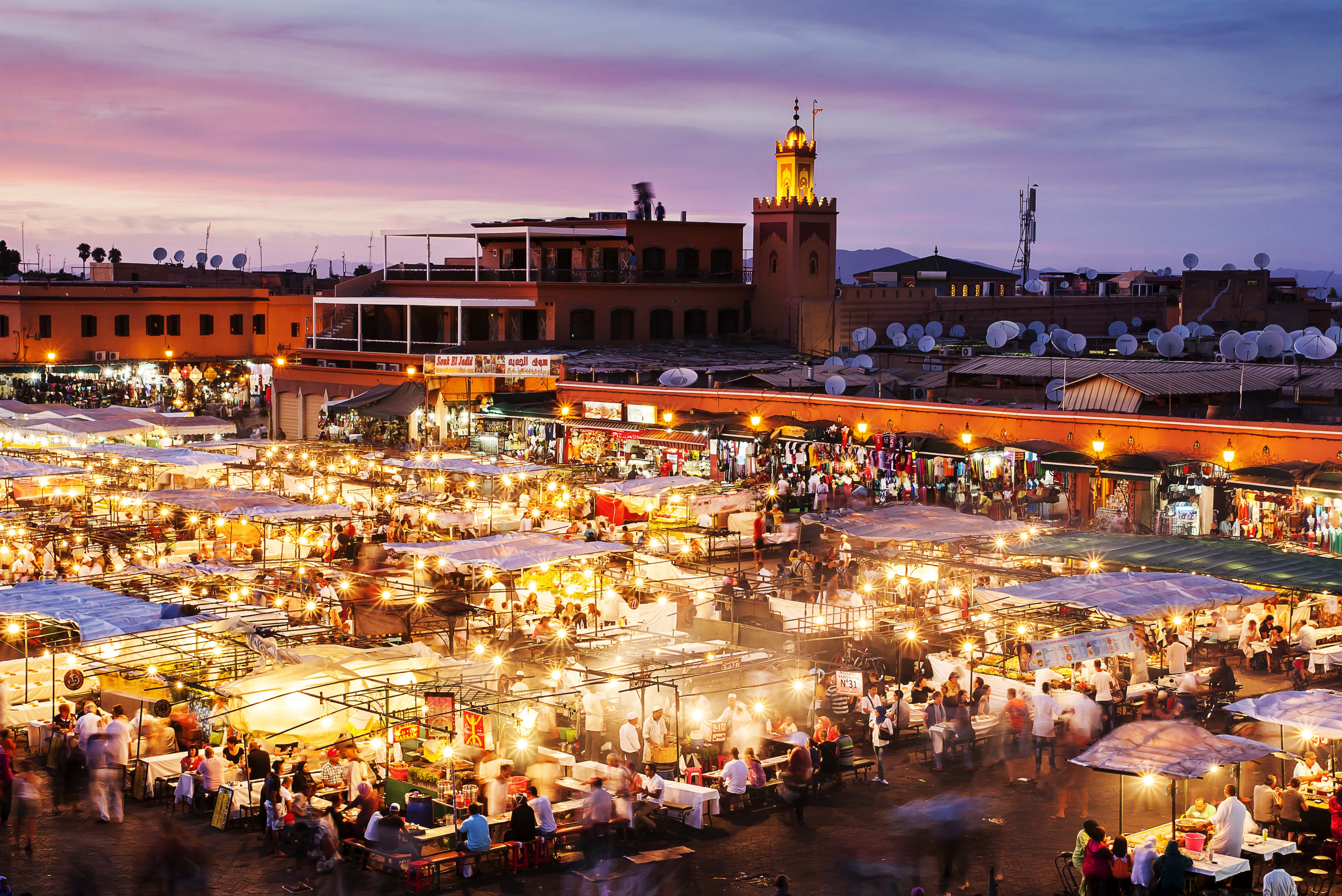 Jemaa el-Fna square in Marrakech,dining table in the Moroccan desert, Morocco