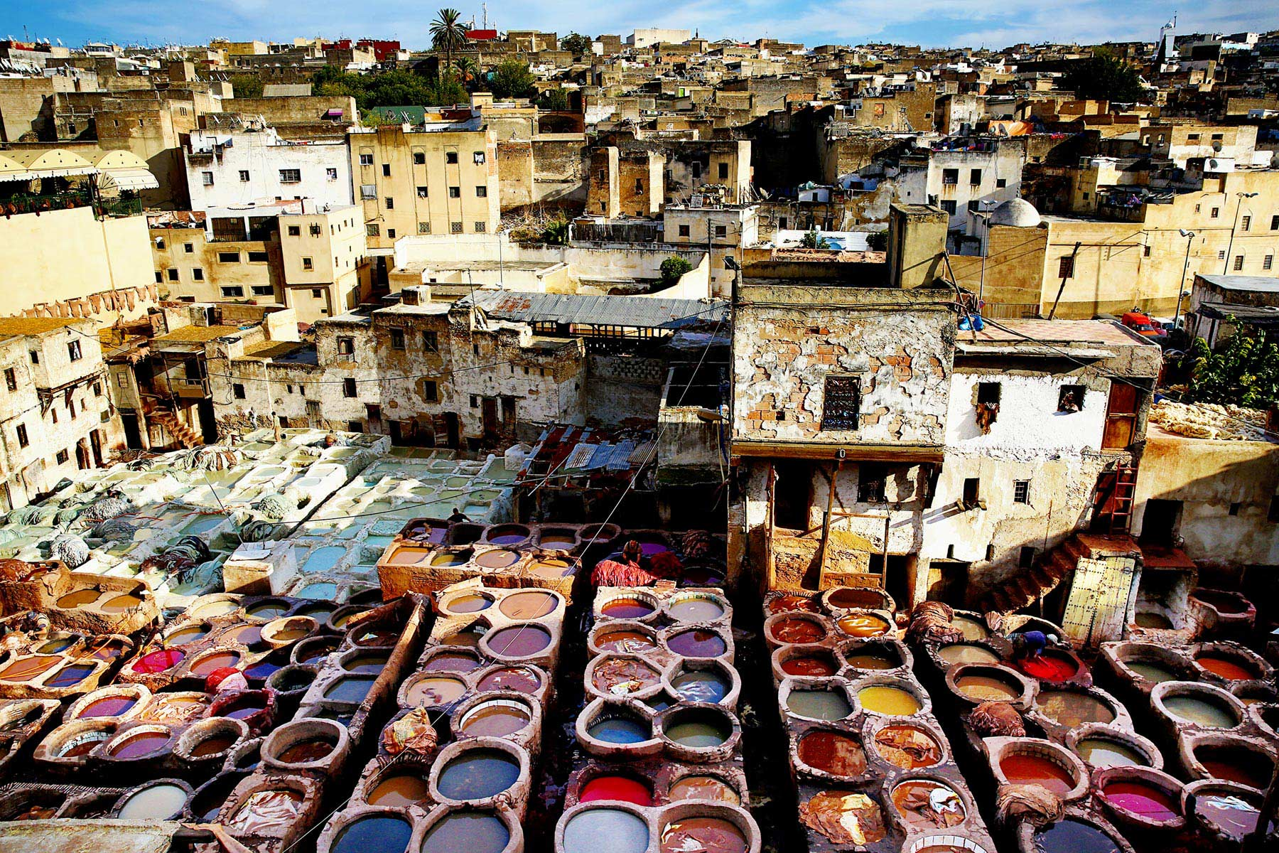 Tanneries of Fès, dining table in the Moroccan desert, Morocco