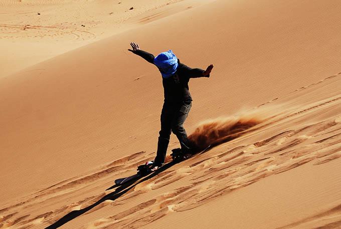 sandsurfing in the. moroccan desert, Morocco