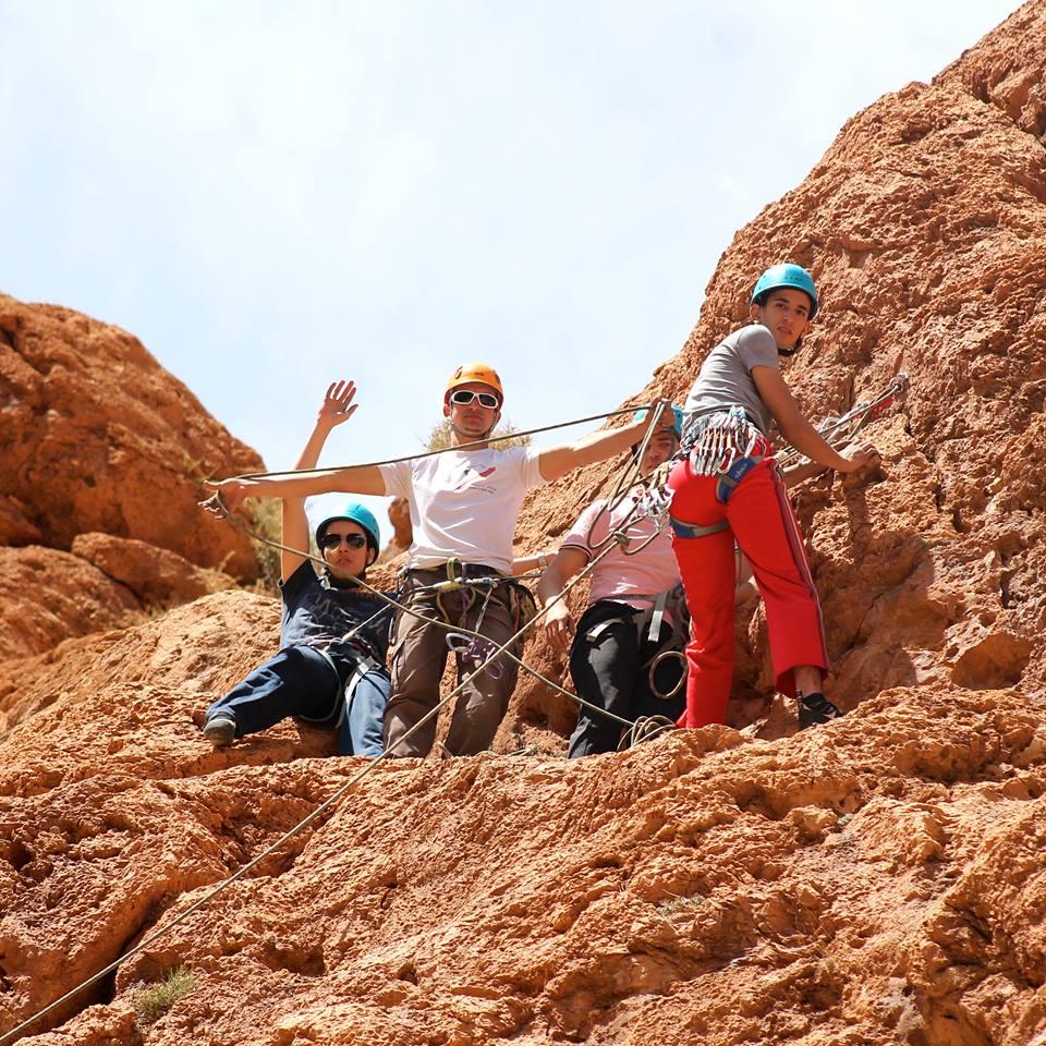 family climbing in moroccan mountains, Morocco