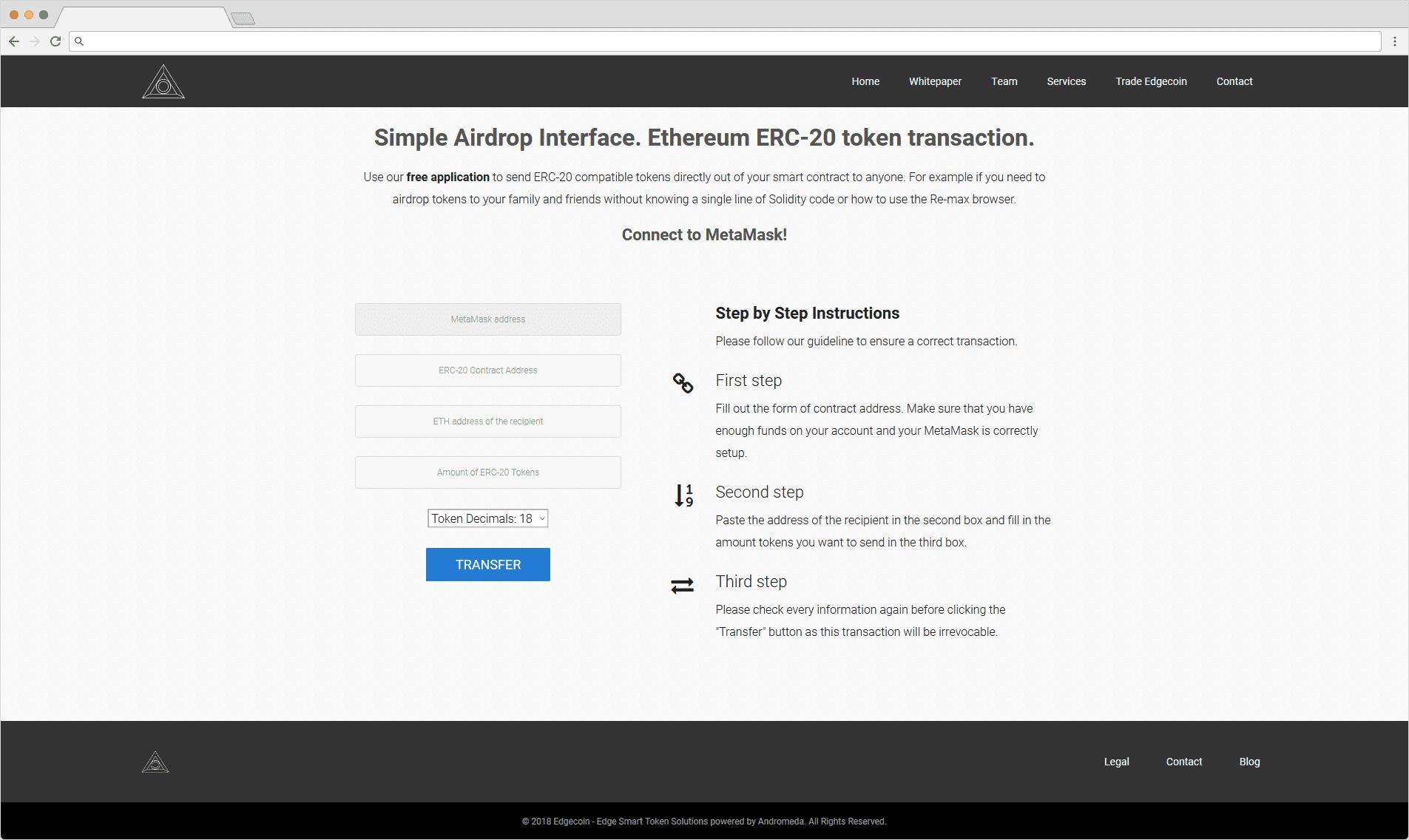 Edgecoin Token Transfer Interface DAPP
