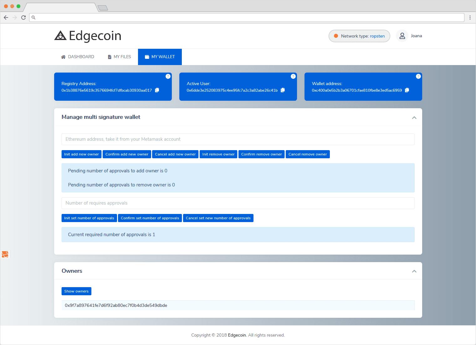 Edgecoin Customer Area My Wallet
