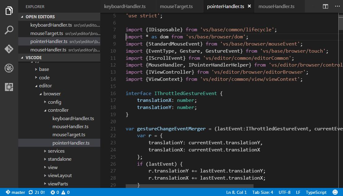 VS Code user interface