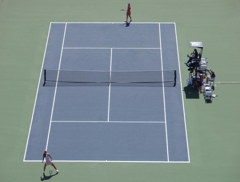 Tennisnetz,Doppelreihen,einzelspiel