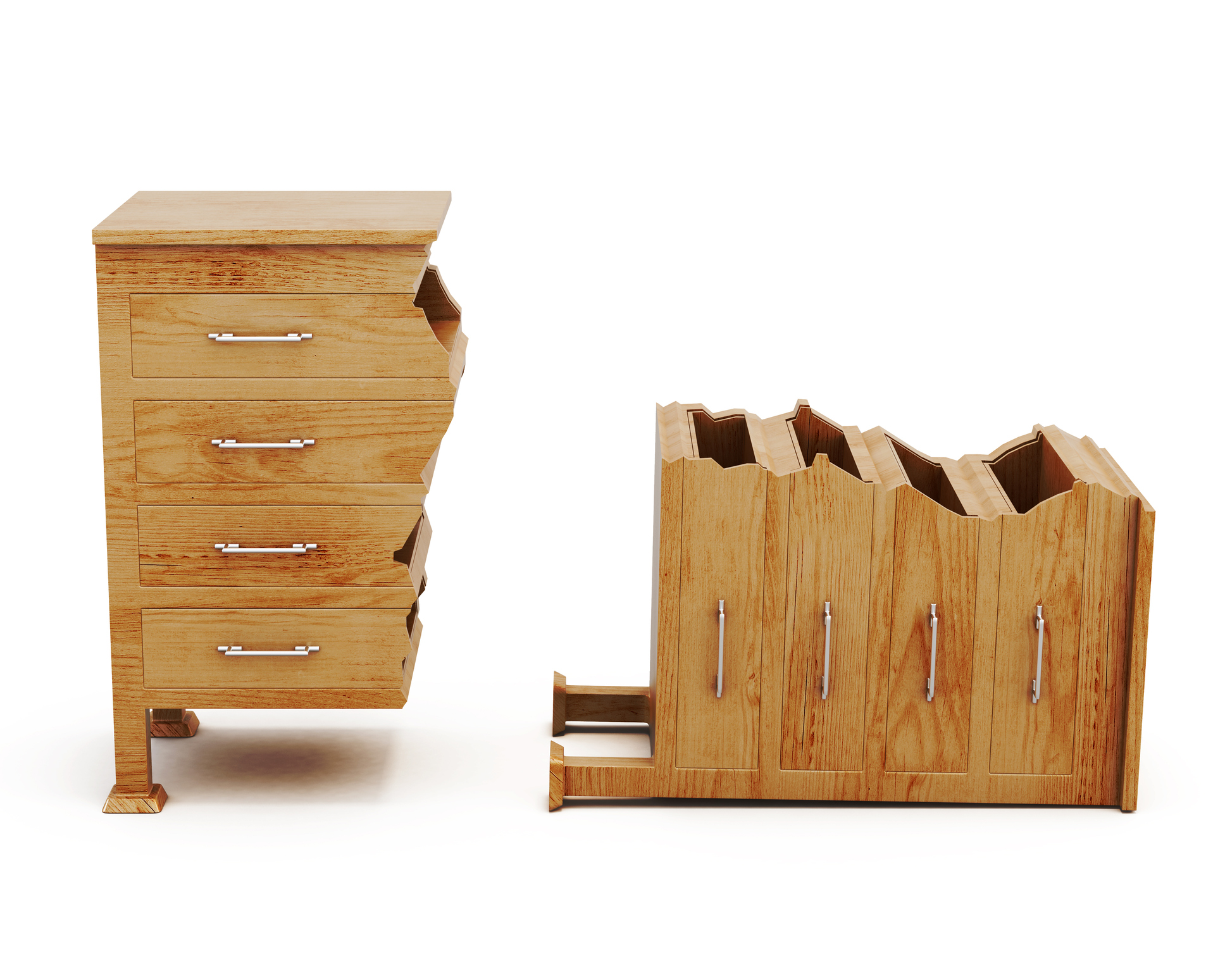 Image of a broken chest of draws