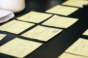 sticky notes with data