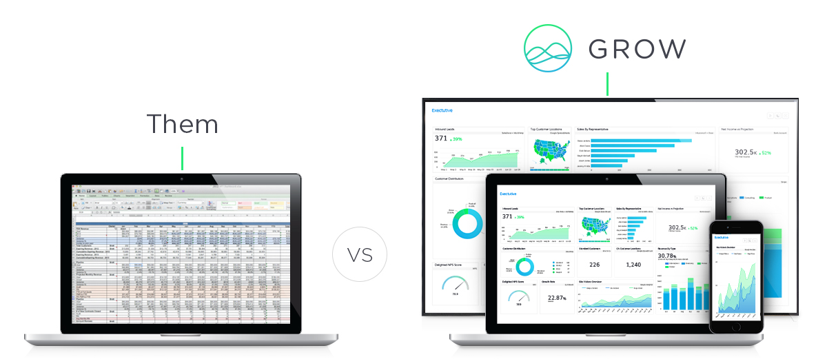 Excel reporting vs Grow Dashboard reporting