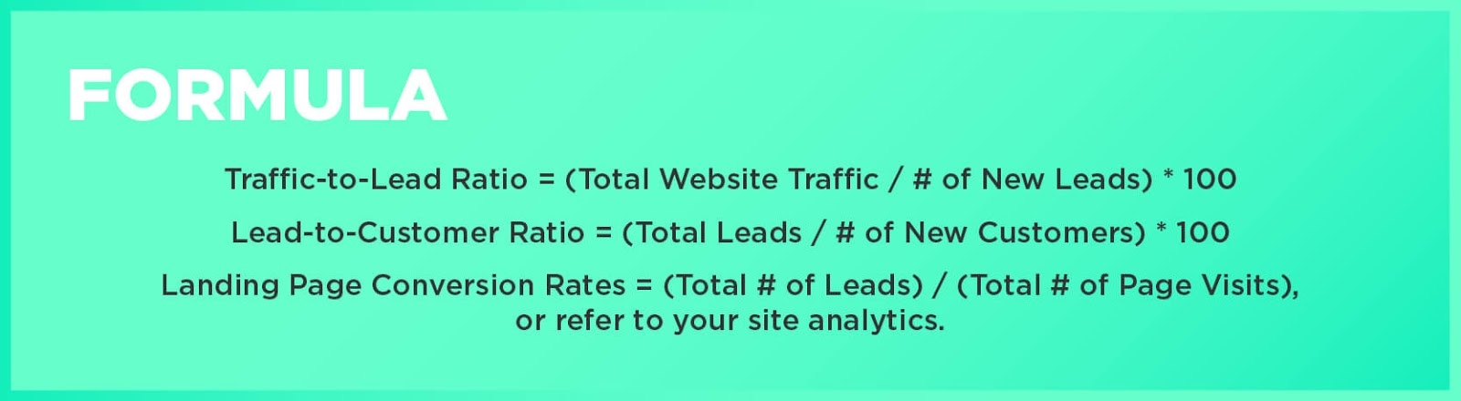 Formulas: Traffic-to-Lead Ratio = (Total Website Traffic / # of New Leads) * 100Lead-to-Customer Ratio = (Total Leads / # of New Customers) * 100Landing Page Conversion Rates = (Total # of Leads) / (Total # of Page Visits), or refer to your site analytics.