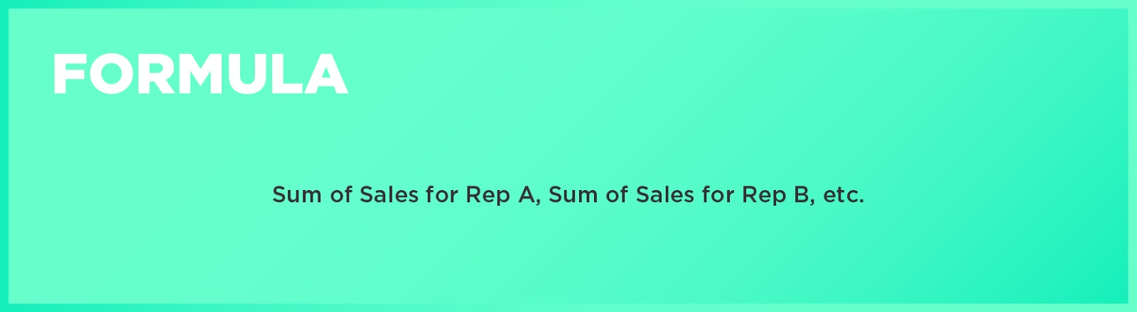Formula: Sum of Sales for Rep A, Sum of Sales for Rep B, etc.