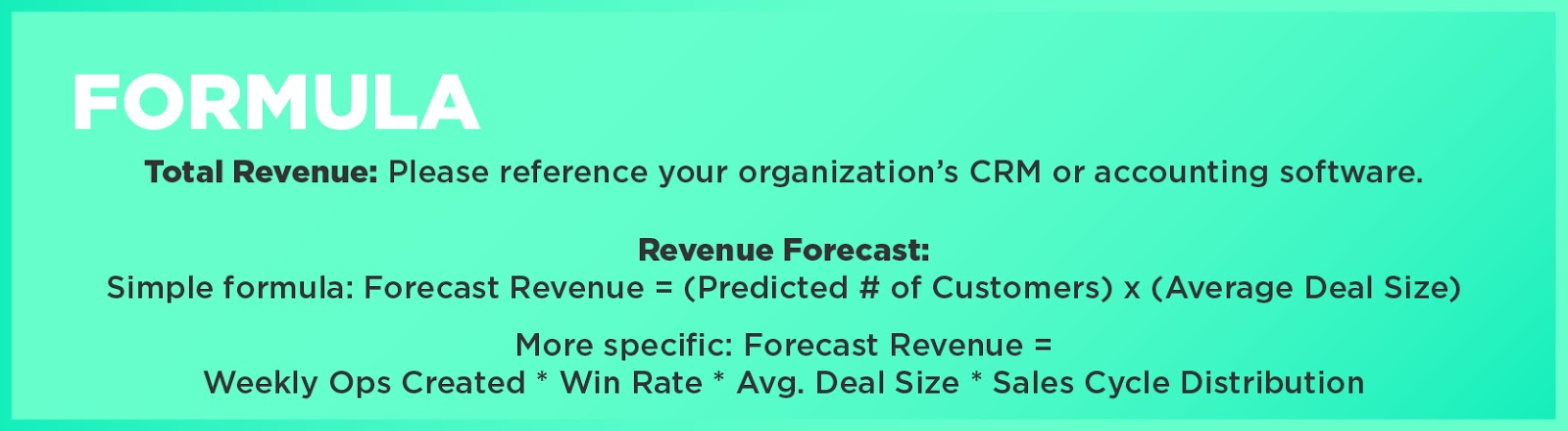 Formula: Total Revenue: Please reference your organization's CRM or accounting software.Revenue Forecast: Simple formula: Forecast Revenue = (Predicted # of Customers) x (Average Deal Size)More specific: Forecast Revenue = Weekly Ops Created * Win Rate * Avg. Deal Size * Sales Cycle Distribution
