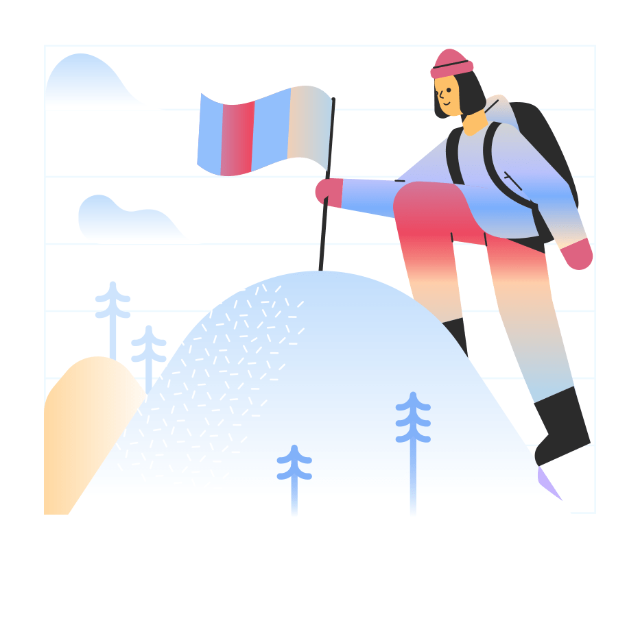 Illustration of a person planting a flag into the top of a mountain.