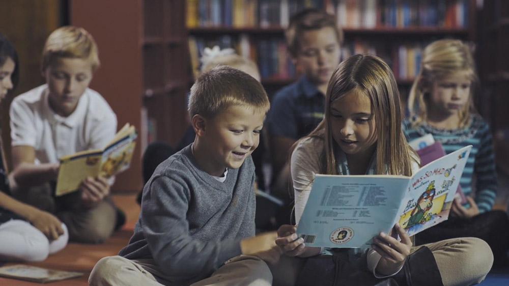 Children being filmed in the St. Xavier Catholic School Promo