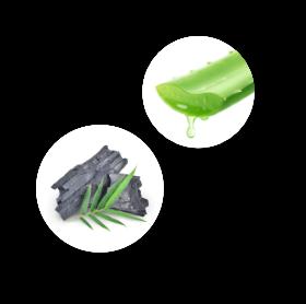 Kaksi valkoista kuplaa, joiden sisällä on kuva. Ylemmässä kuplassa katkottu Aloe Vera kasvin lehti, josta valuu nestettä. Alemmassa kuplassa kaksi palaa hiiltynyttä bambua sekä bambun oksa.