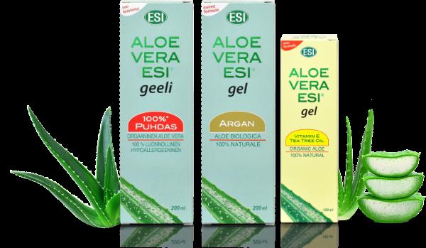 Kolme Aboa Medican Aloe Vera -tuottetta vierekkäin: Aloe Vera geeli, Aloe Vera Argan geeli sekä Aloe Vera Vitamiini E + Tea Tree geeli.