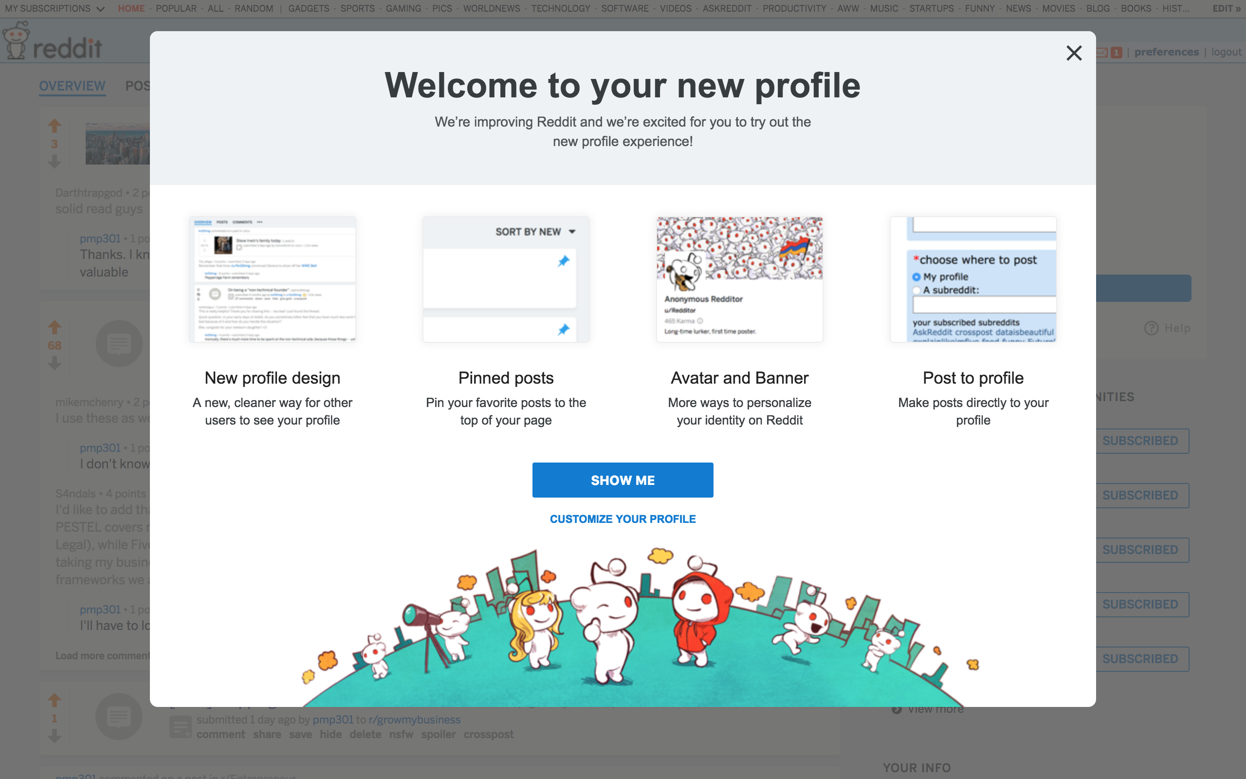 reddit s new personalized profile experience