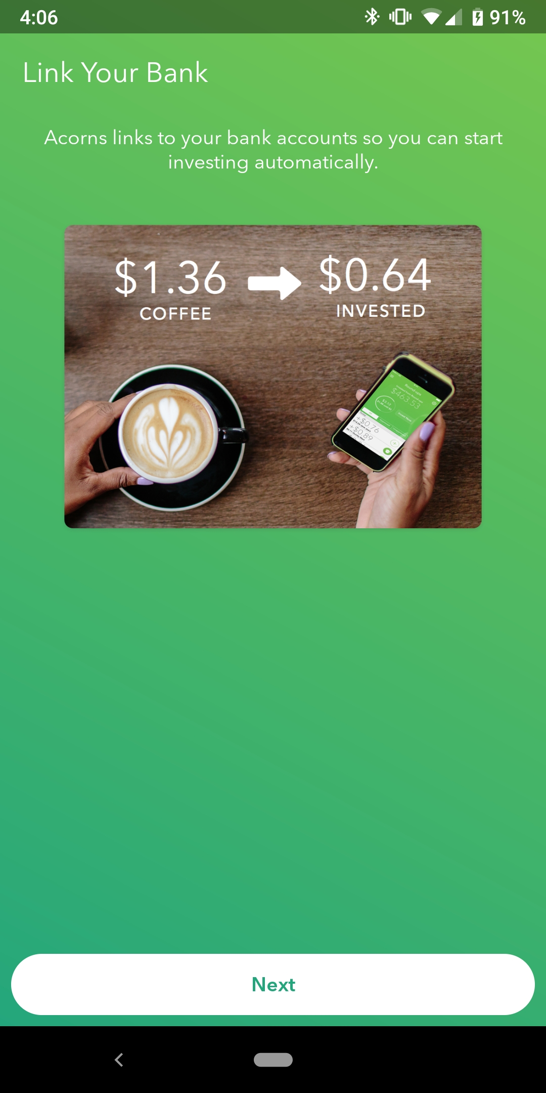 Acorn's mobile app screen prompting users to link their bank