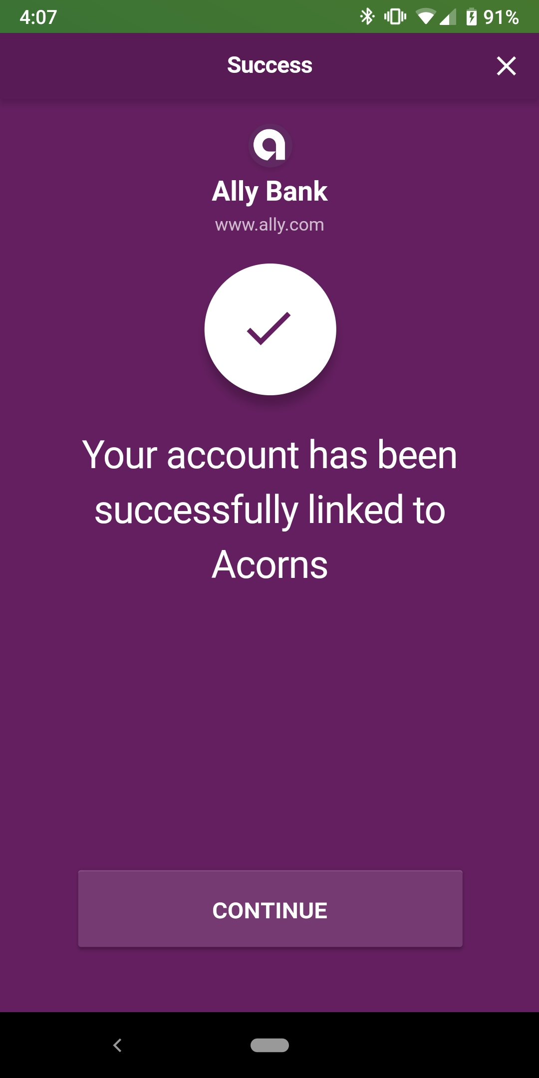 Acorn's success screen on their mobile app once users link their bank