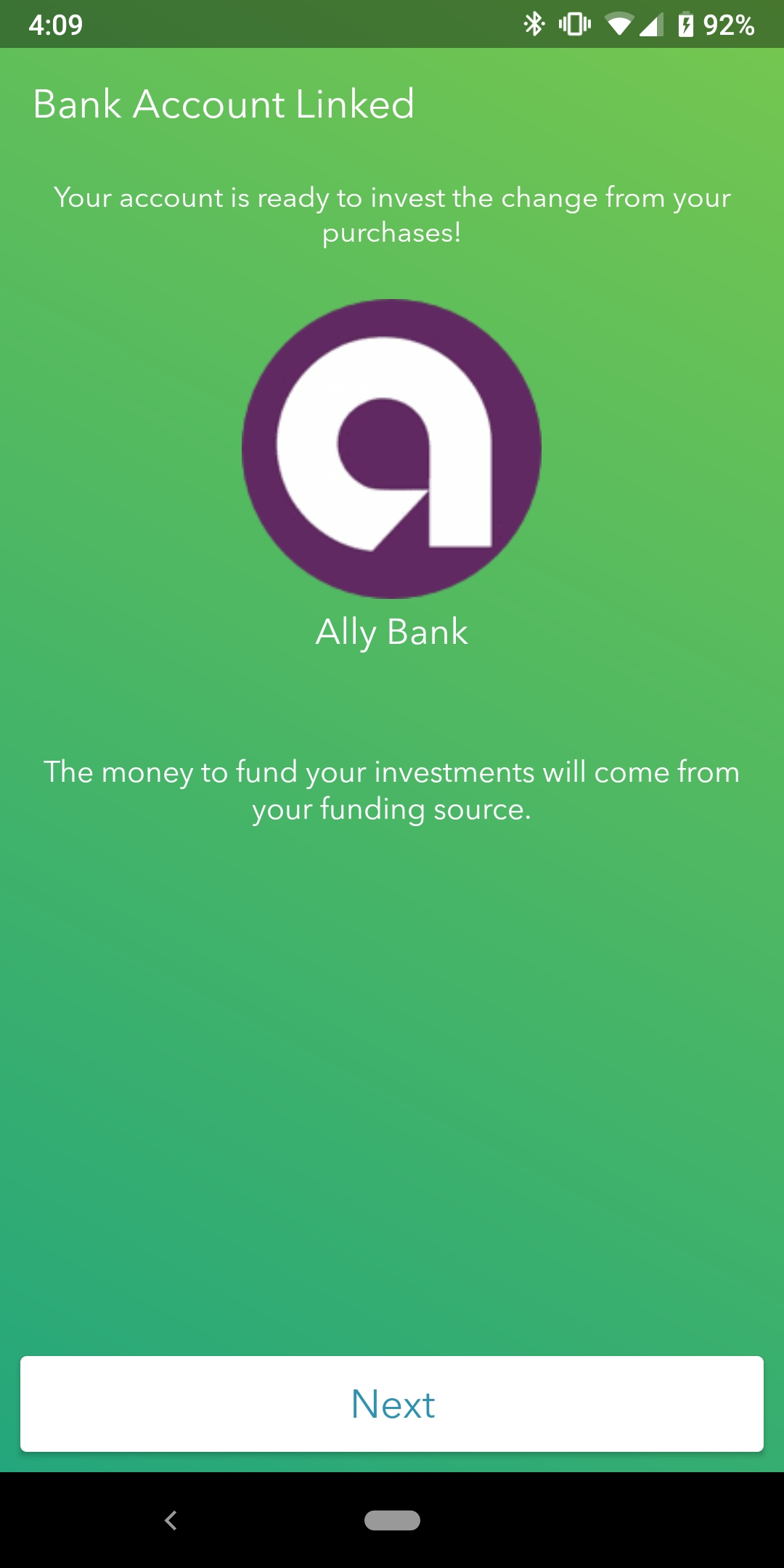 Acorn's second success screen after linking a bank account on their mobile app