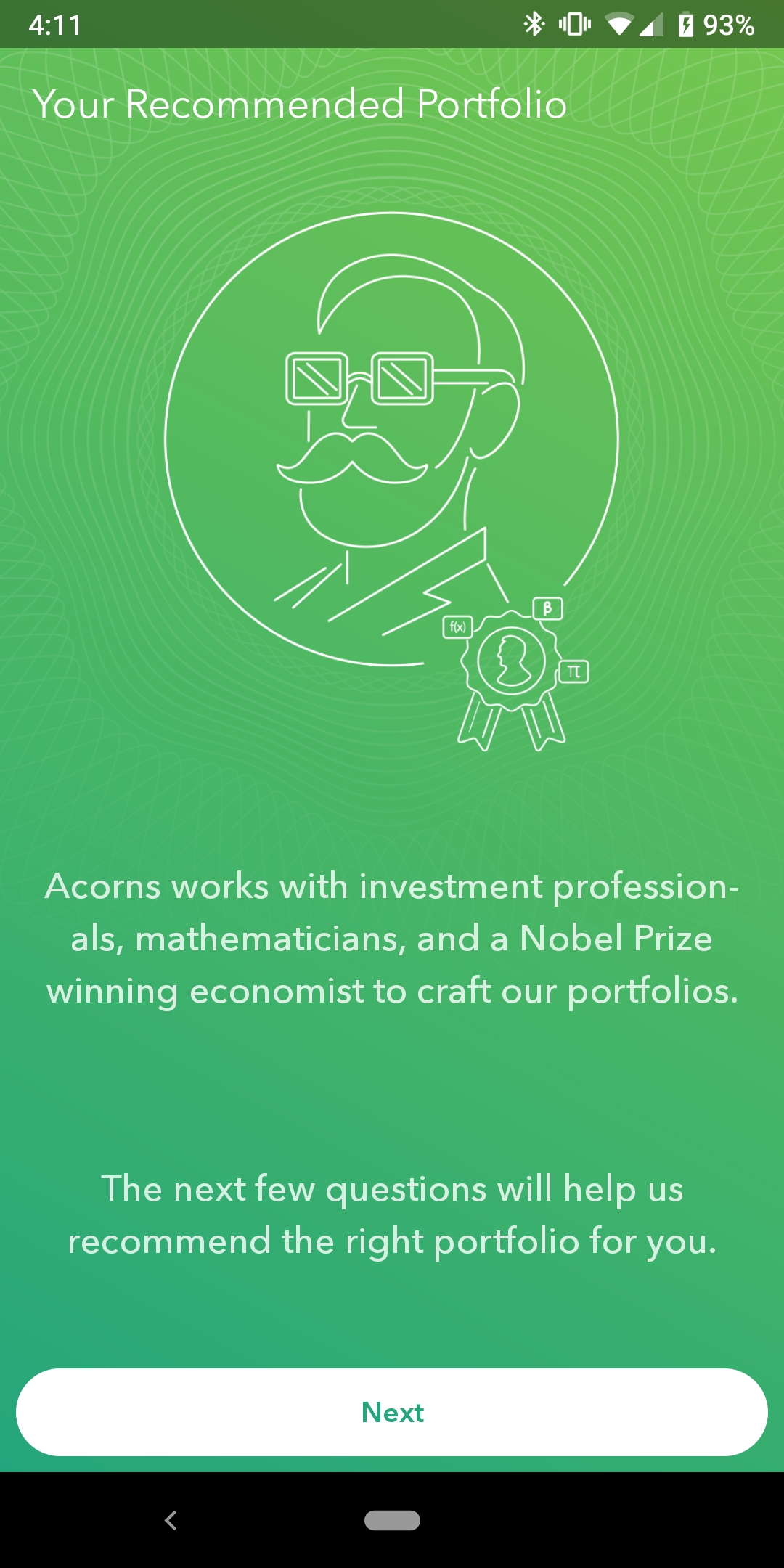 Acorn's mobile app then recommends a portfolio in their mobile app