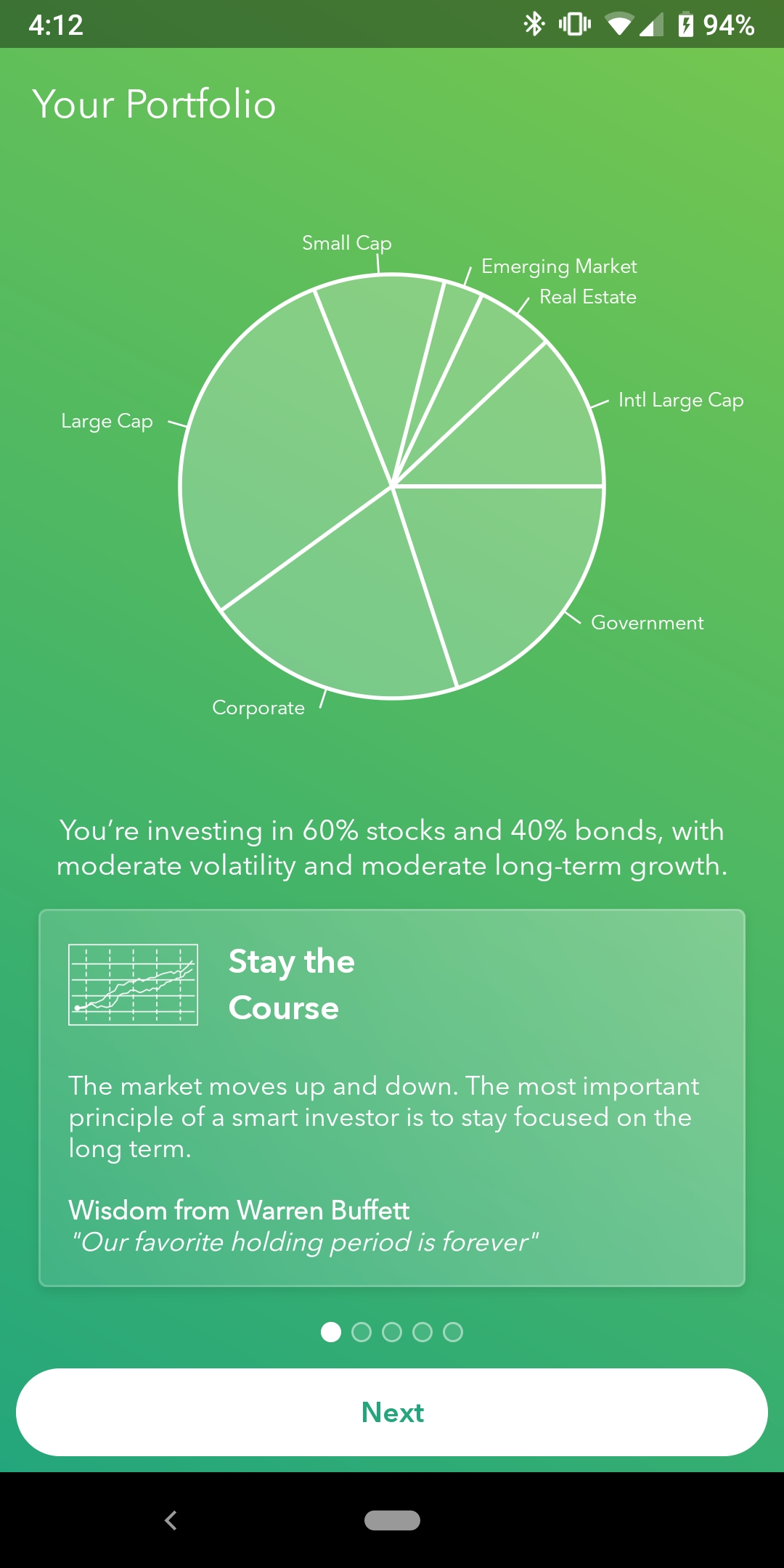 Acorn's mobile app shows users their recommended portfolio