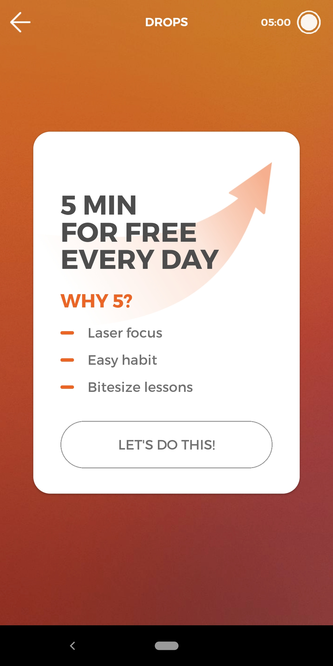 Drops mobile app's 5 minutes free screen