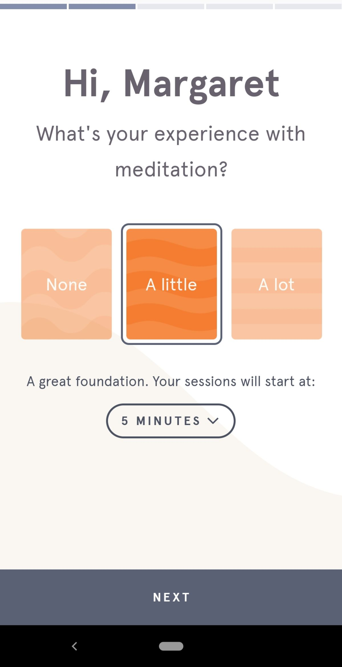 Headspace's first question in their mobile app's onboarding flow