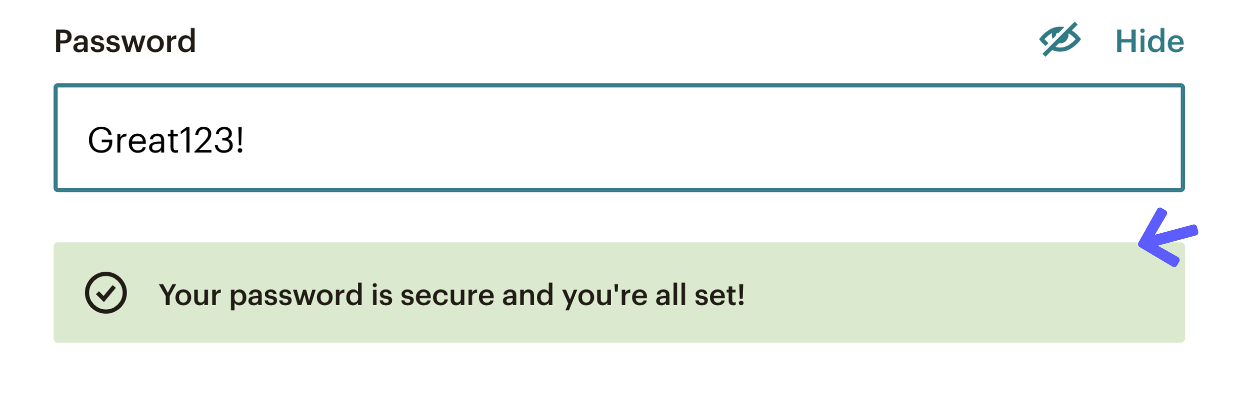 This is an image of a realtime password checker which is an example of good UX. Below the password field is green bar with a checkmark that shows a password creation success message.