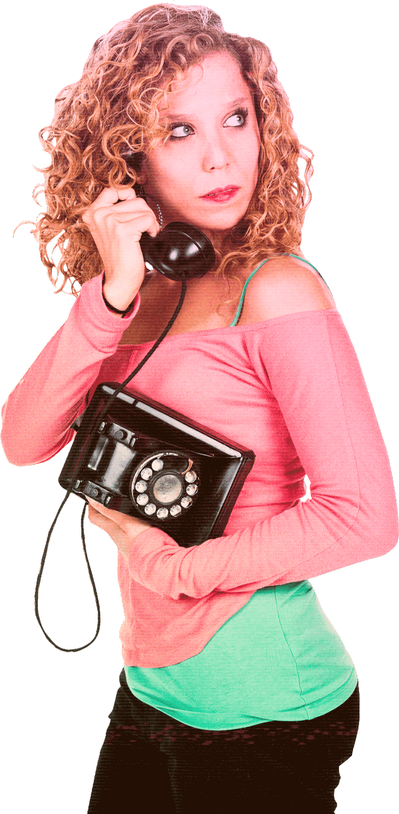 Alli for some reason on a rotary phone.