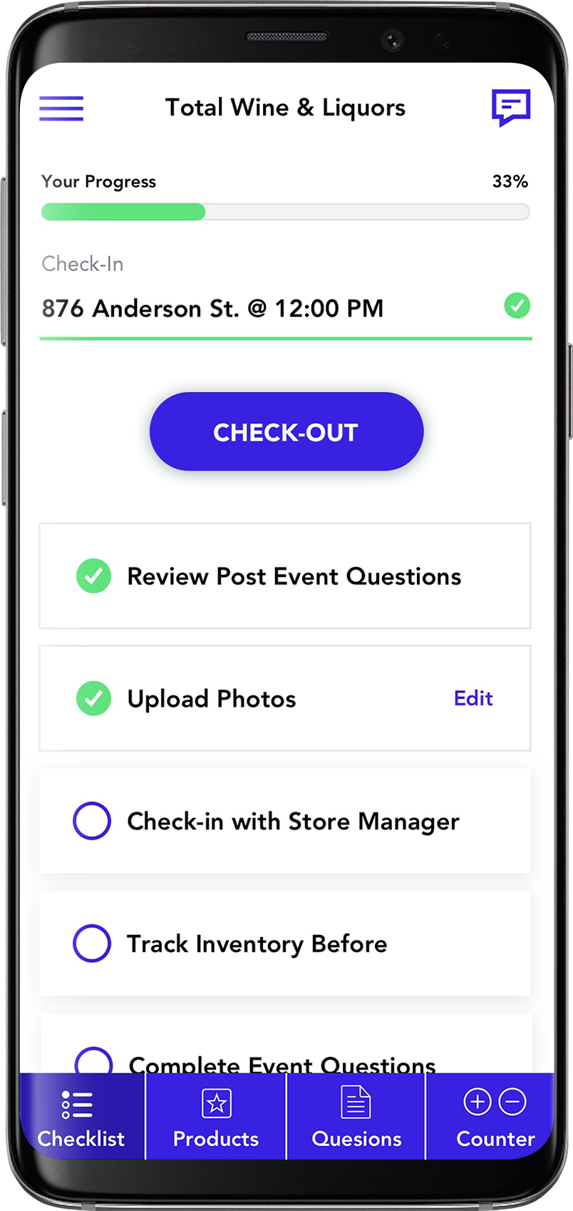 Screenshot of Sampoll Event Staff App