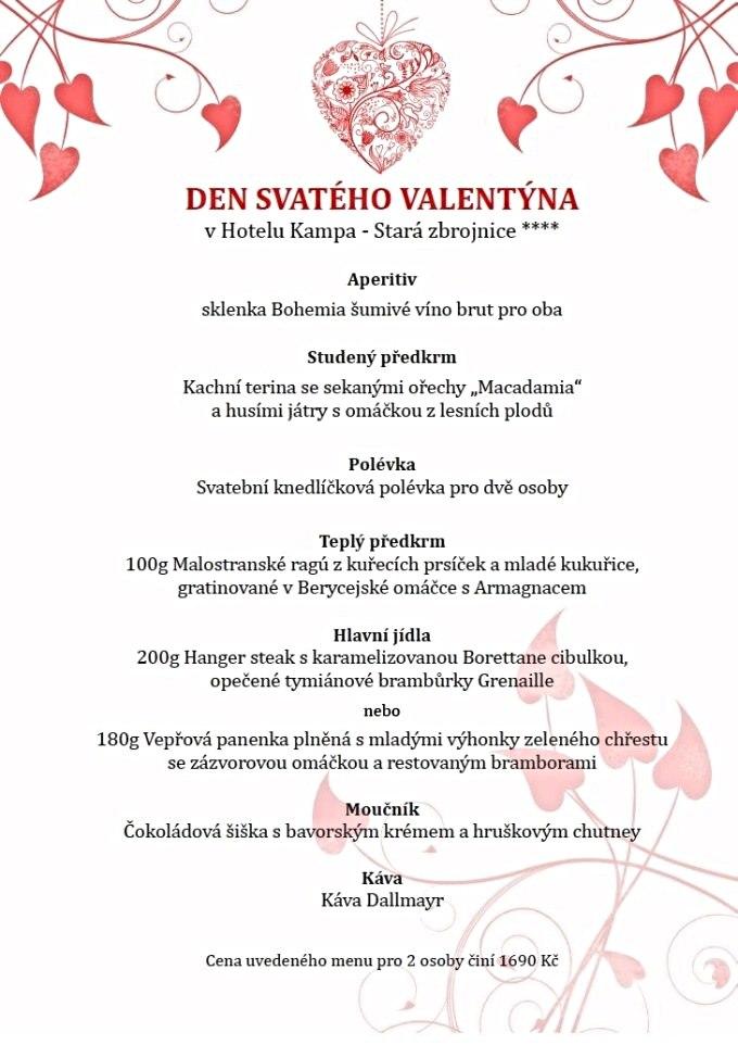 Valentýnské menu - Restaurace Rytířský sál - Stará zbrojnice