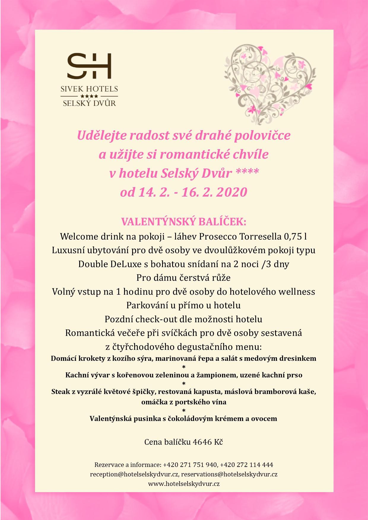 Valentýnský balíček - Hotel Selský Dvůr****