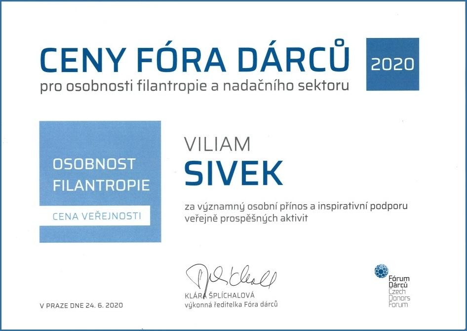 Viliam Sivek obdržel nejvyšší ocenění za filantropii