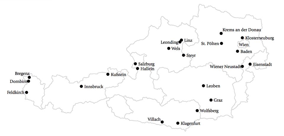 Karte der beliebtesten Städte Österreichs