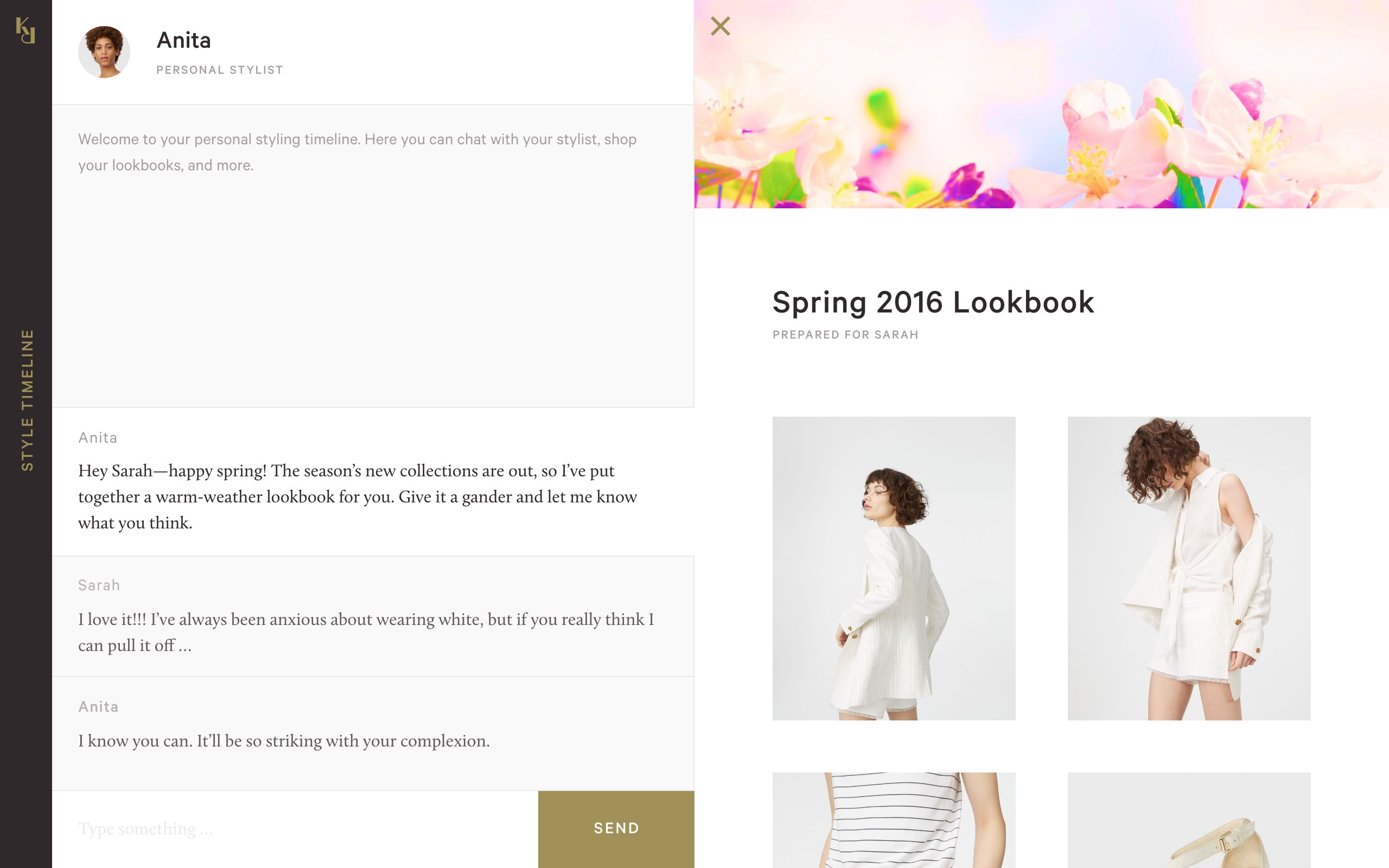 Stylist chat & lookbook