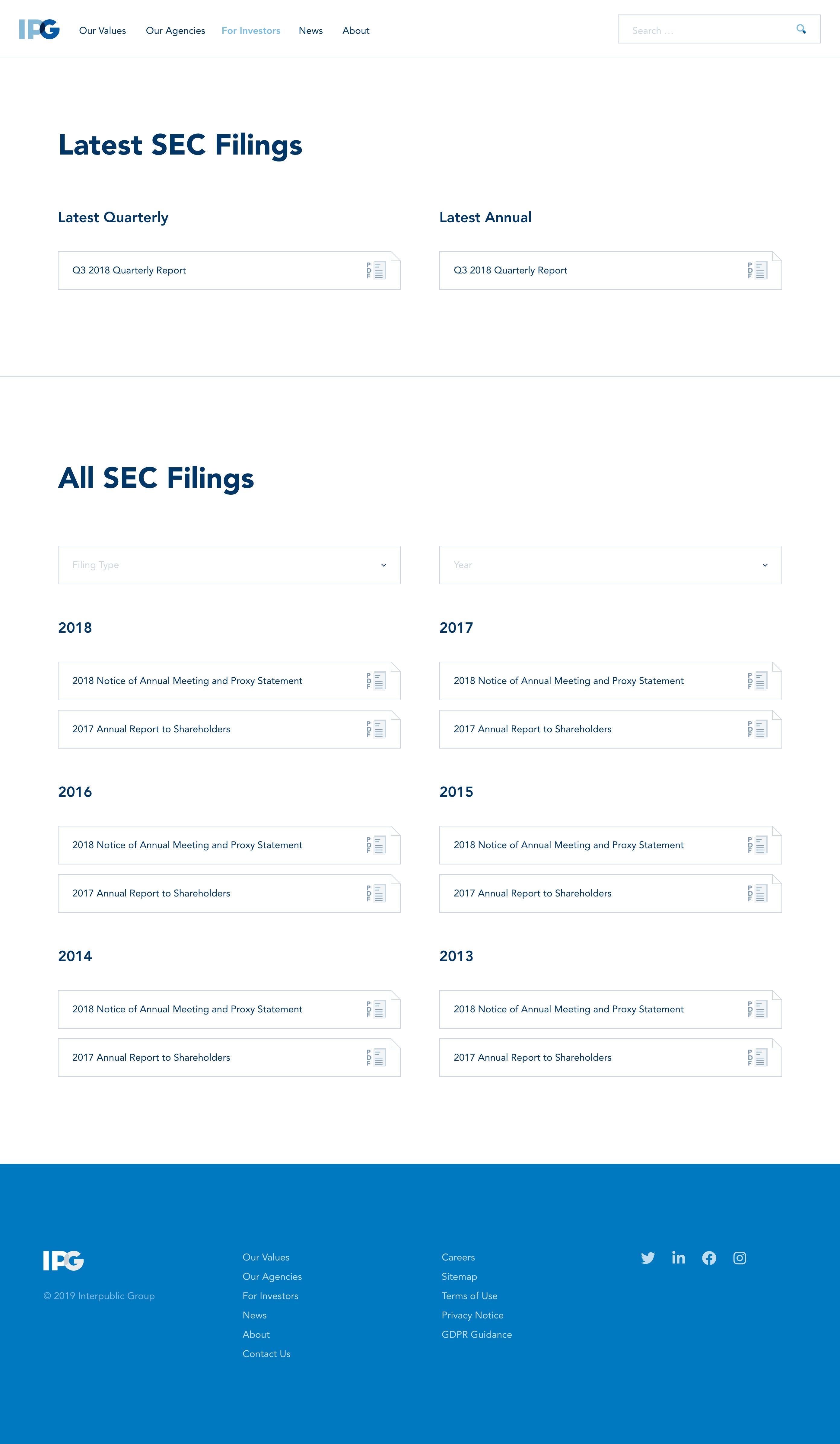 SEC Filings page