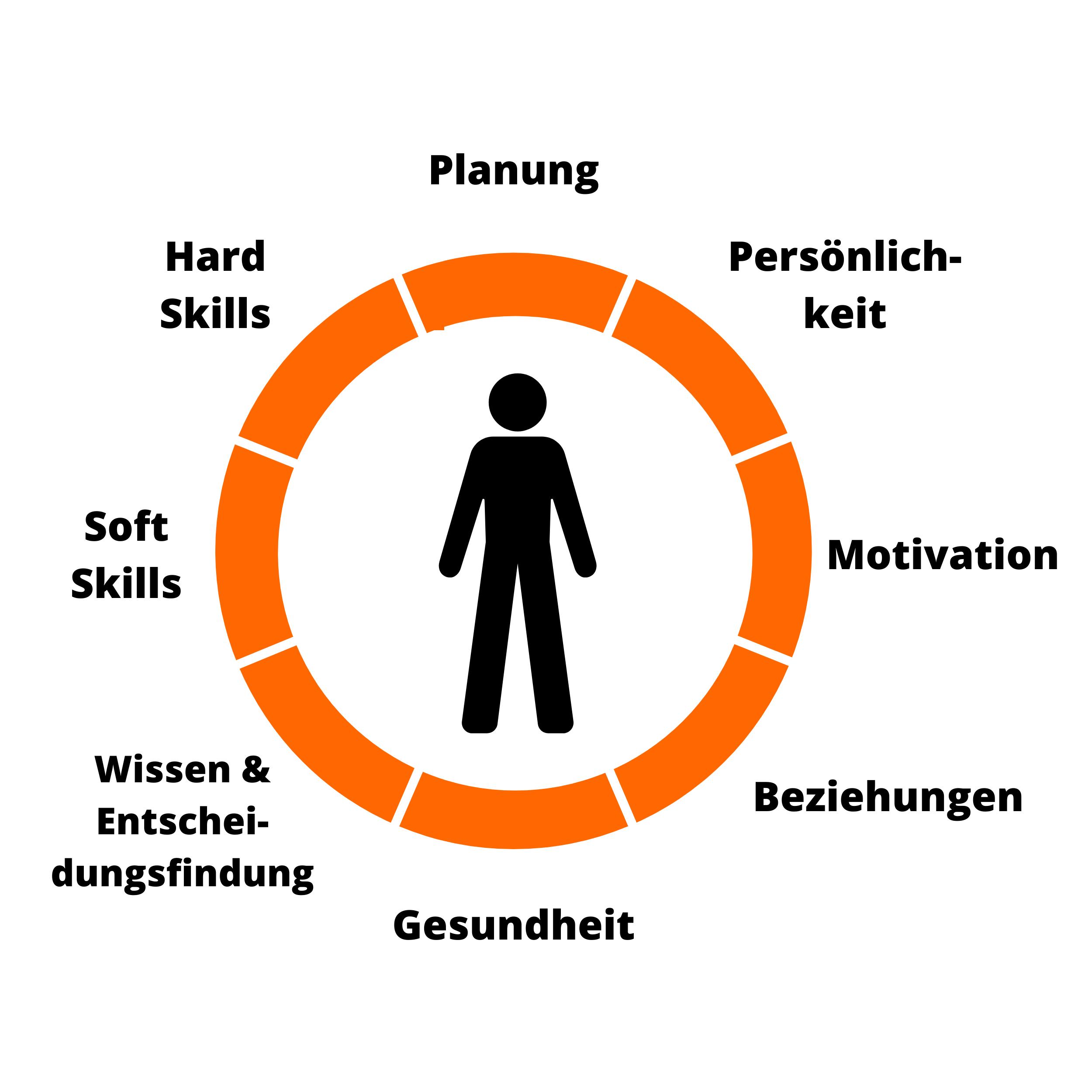 Abbildung: die 8 Bereiche des MMND Young Professionals Profil