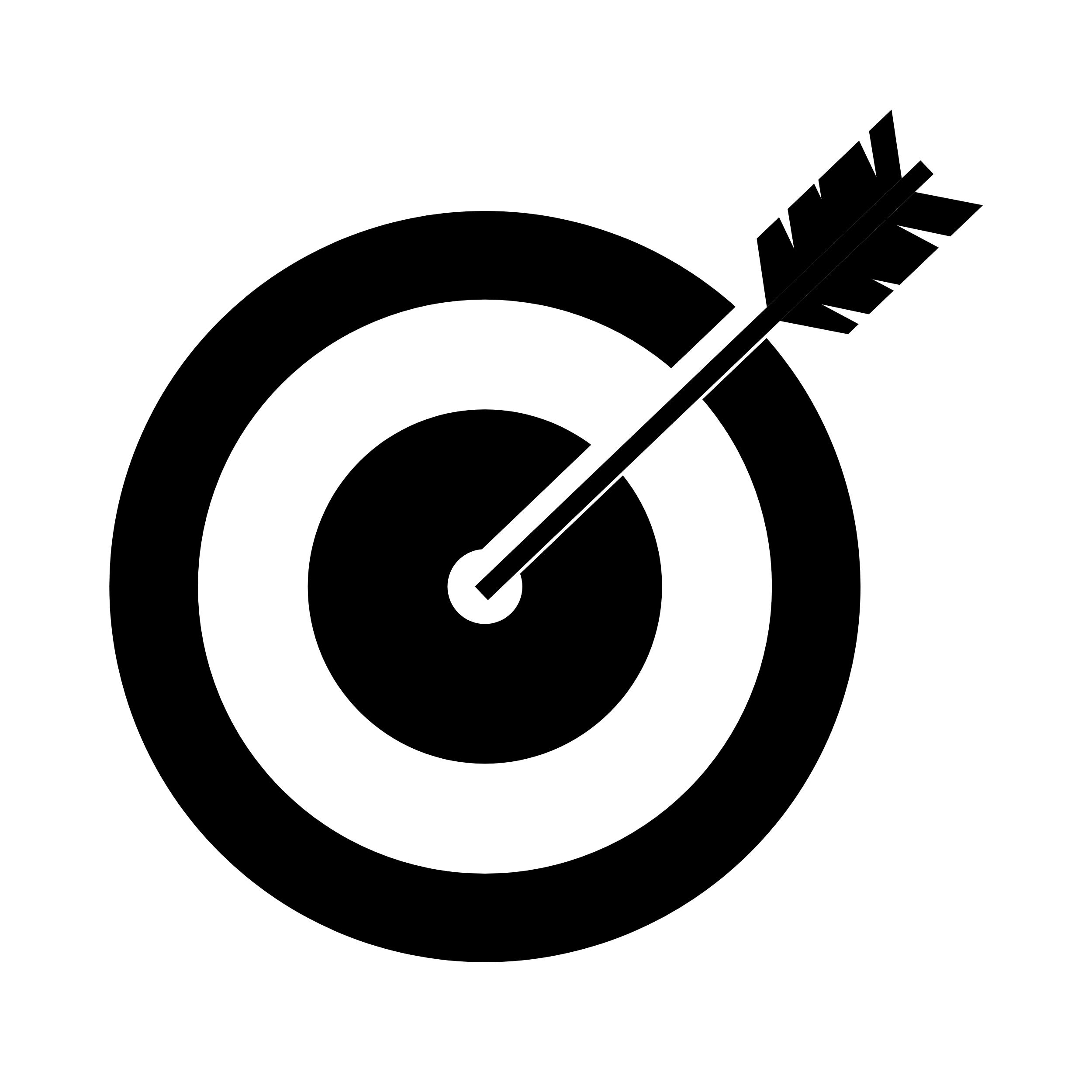 Eine angedeutete Zielscheibe mit einem Pfeil im Zentrum