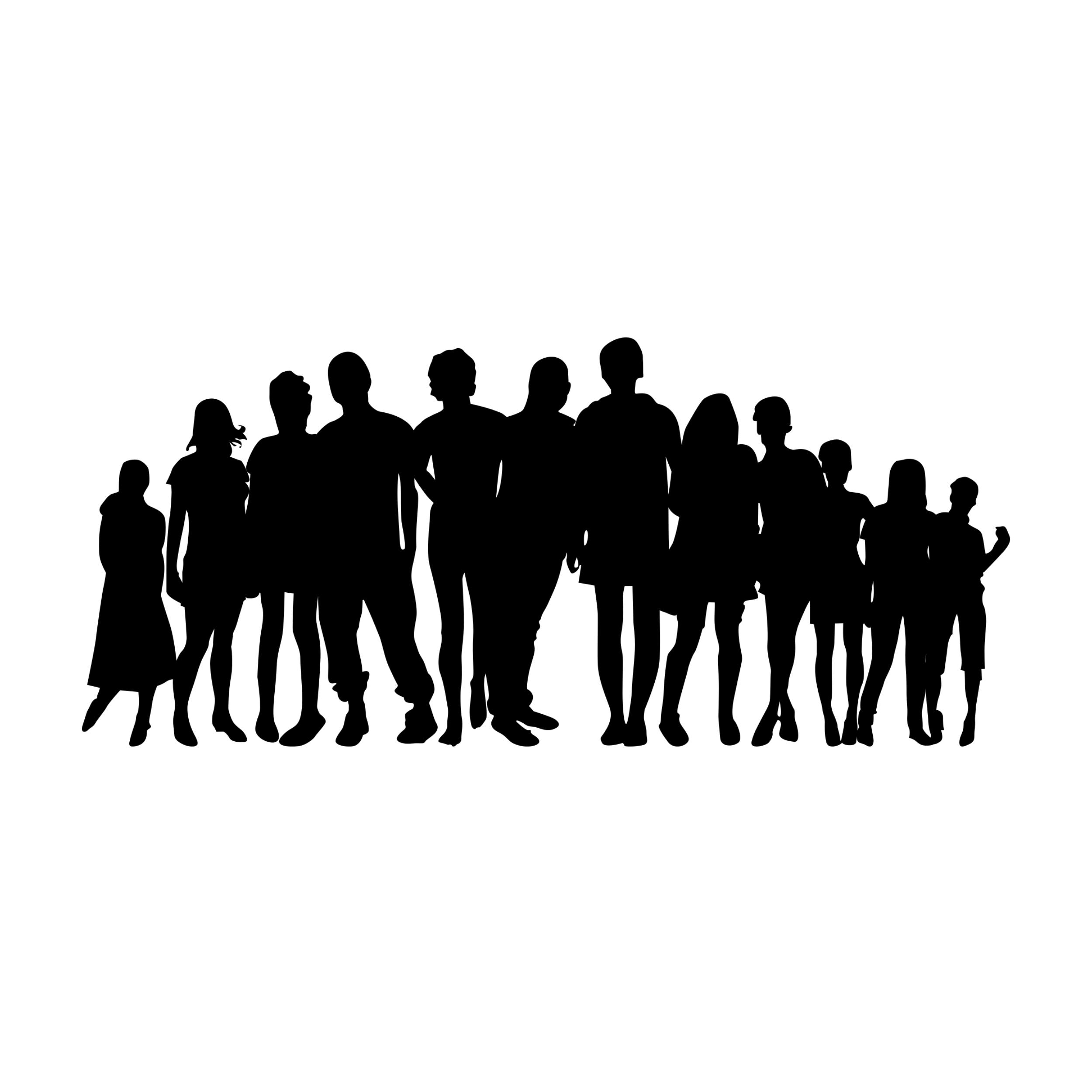 Die Silhuette einer Gruppe von Menschen die zusammen steht