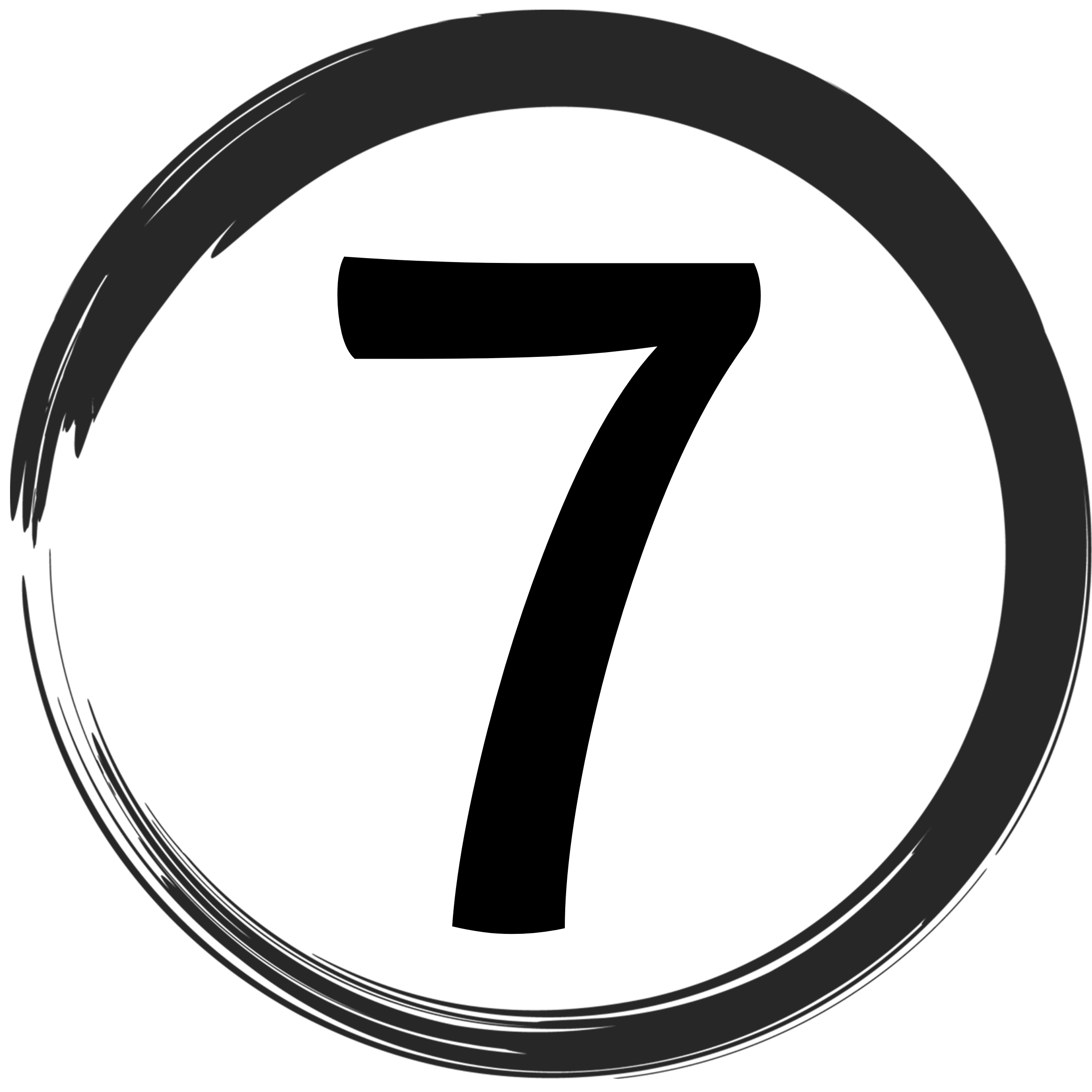 Die Zahl 7 in einem Kreis