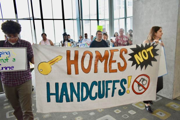 homes not handcuffs protest in austin texas