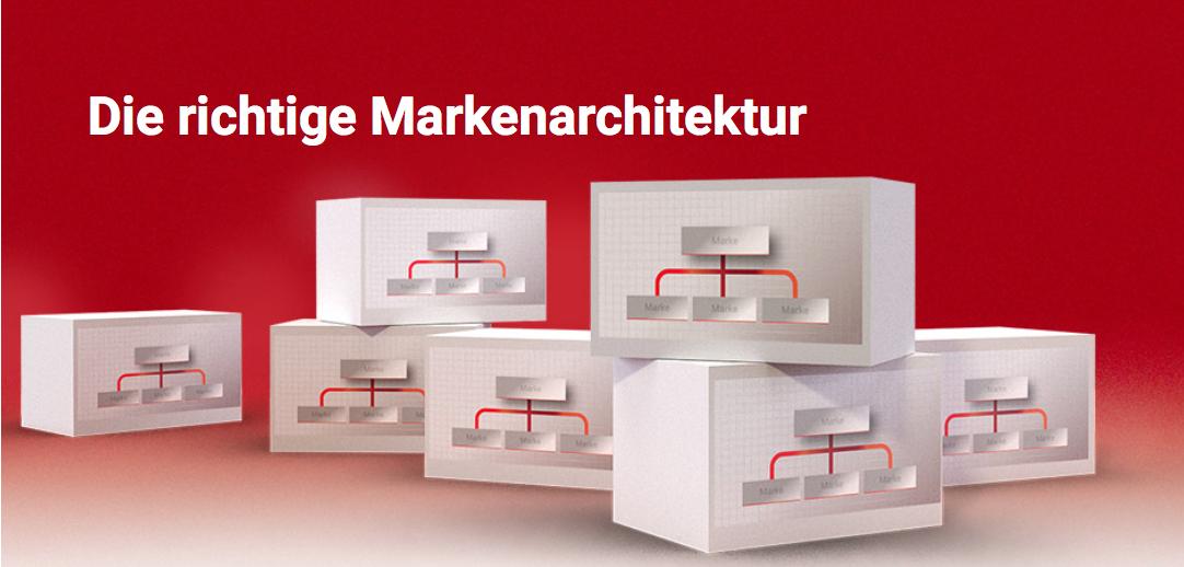"""Weiße Schrift """"Die richtige Markenarchitektur"""" auf rotem Grund."""